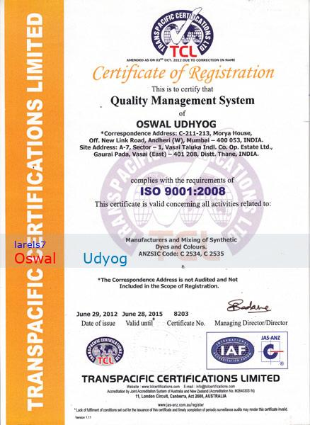 OSWAL UDHYOG, Dystuffs And Pigments,Dyestuffs And Pigments